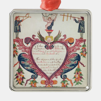 A gift dedicated to Charles II by Bartholomew Silver-Colored Square Decoration