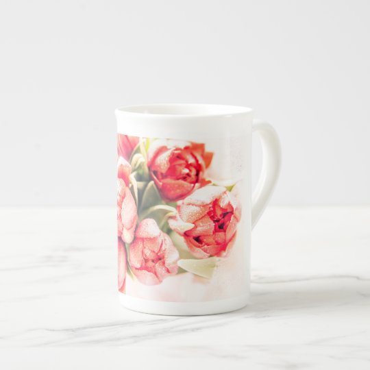 A gift of red tulips: beautiful bone china