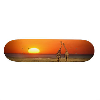 A Giraffe couple walks into the sunset, in 20.6 Cm Skateboard Deck