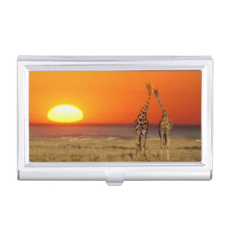 A Giraffe couple walks into the sunset, in Business Card Holder