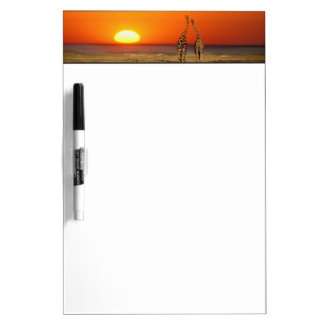 A Giraffe couple walks into the sunset, in Dry Erase Board