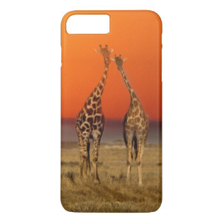 A Giraffe couple walks into the sunset, in iPhone 8 Plus/7 Plus Case