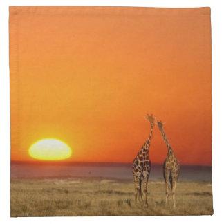 A Giraffe couple walks into the sunset, in Napkin