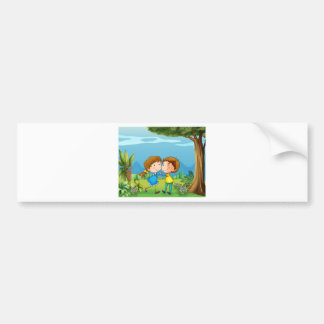 A girl and a boy dancing at the park bumper sticker