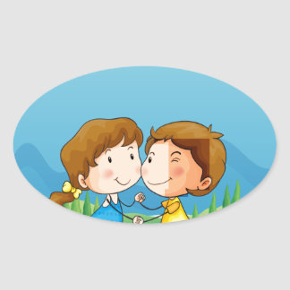 A girl and a boy dancing at the park oval sticker