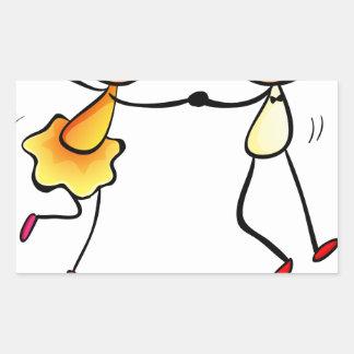 A girl and a boy dancing rectangular sticker