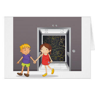 A girl and a boy holding hands near the elevator card