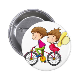 A girl and a boy riding in a fast moving bike 6 cm round badge
