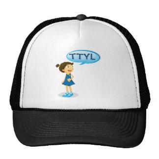 a girl and a speech bubble cap