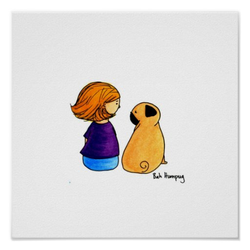 A Girl and Her Pug (blonde version) Poster
