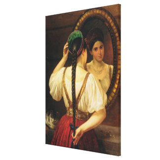 A girl at the mirror, 1848 stretched canvas print