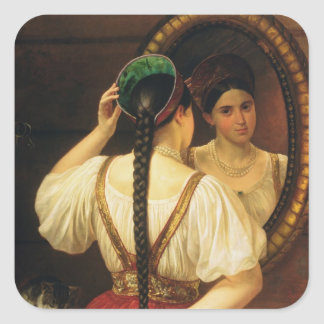 A girl at the mirror, 1848 square sticker
