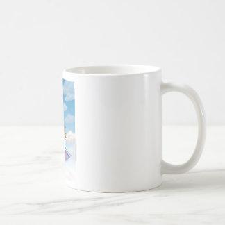 a girl flying on mat basic white mug