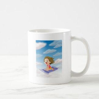 a girl flying on mat classic white coffee mug