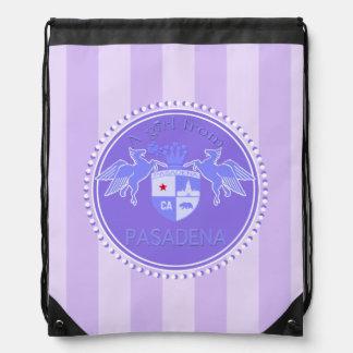 A Girl From PASADENA Logo Purple Emblem Stripes Rucksack