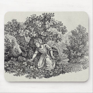 A Girl Gathering Flowers Mouse Pad
