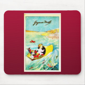 A girl going in a boat with gifts mouse pad