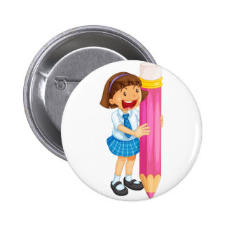 a girl holding pencil 2 inch round button
