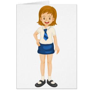a girl in school uniform greeting card