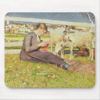 A Girl Knitting, 1888 (oil on canvas) Mouse Mat