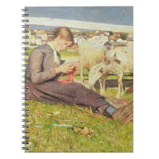 A Girl Knitting, 1888 (oil on canvas) Spiral Notebook