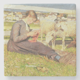 A Girl Knitting, 1888 (oil on canvas) Stone Beverage Coaster