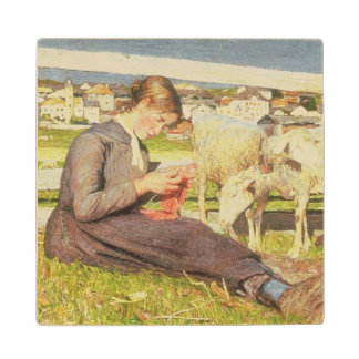 A Girl Knitting, 1888 (oil on canvas) Wood Coaster