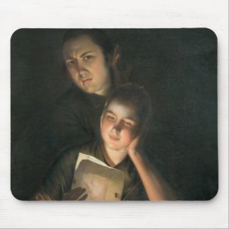 A Girl reading a letter by Candlelight Mouse Mat
