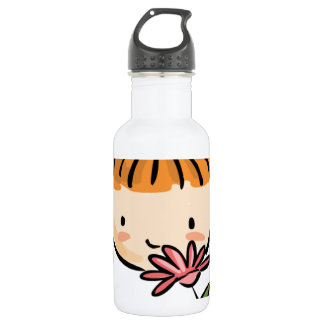 A Girl Smelling a Pink Flower 532 Ml Water Bottle