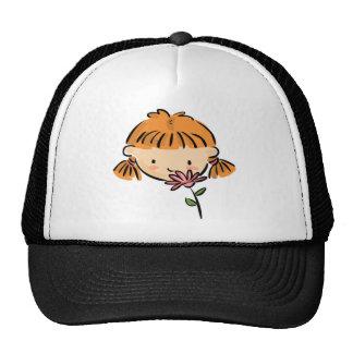 A Girl Smelling a Pink Flower Trucker Hats