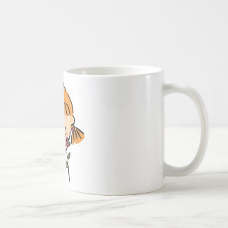 A Girl Smelling a Pink Flower Coffee Mug