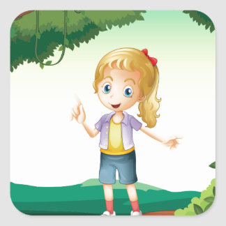 A girl standing on a dry wood square sticker