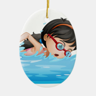 A girl swimming with goggles christmas ornament