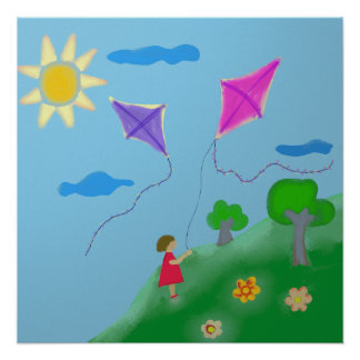 A Girl with Kites Poster