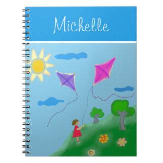 A Girl with Kites with Name Notebooks