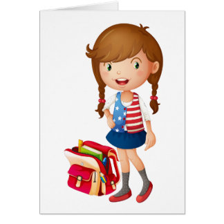 a girl with school bag greeting card