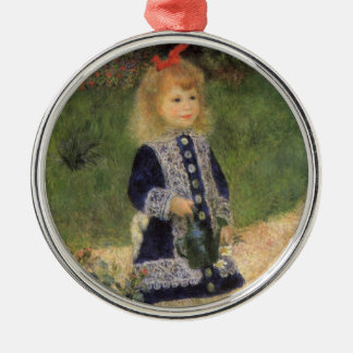 A Girl with Watering Can by Pierre Renoir Silver-Colored Round Decoration