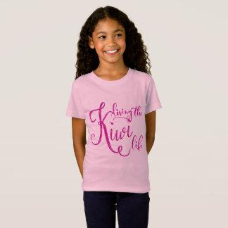 A Girl's Pink Living the Kiwi Life T-Shirt