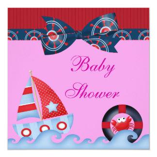 A Girls Sea Life Baby Shower 13 Cm X 13 Cm Square Invitation Card
