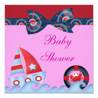 A Girls Sea Life Baby Shower Card