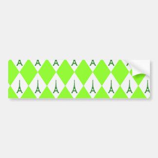 A girly neon green diamond eiffel tower pattern bumper sticker
