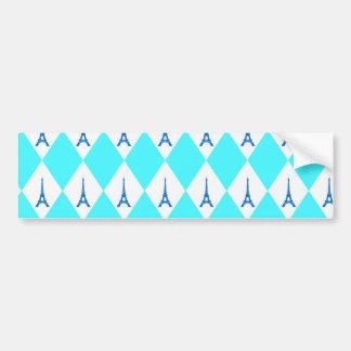 A girly neon teal diamond eiffel tower pattern bumper sticker