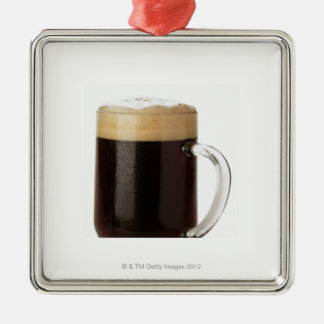 A glass of dark beer Silver-Colored square decoration