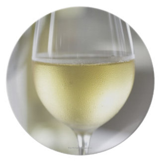 A glass of white wine 2 plate