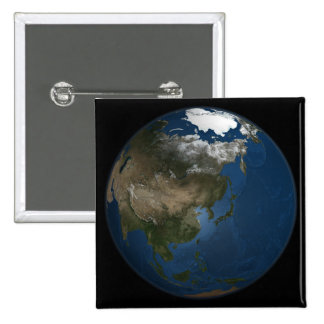 A global view over Asia with Arctic sea ice 15 Cm Square Badge