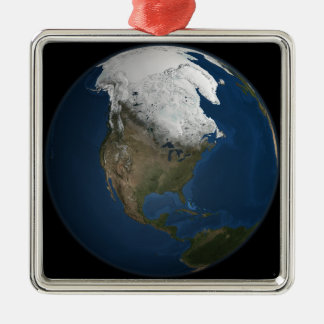 A global view over North America Christmas Ornament