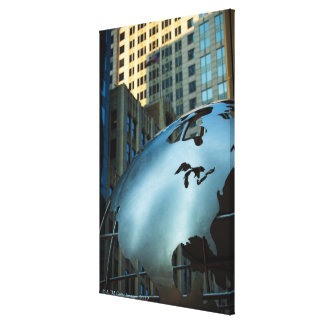 A globe with a stainless steel North America Gallery Wrapped Canvas
