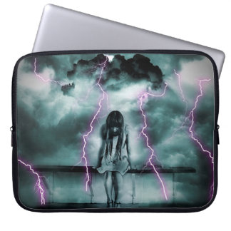 A Gloomy Girl in Storm Laptop Computer Sleeves