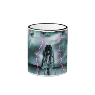 A Gloomy Girl in Storm Ringer Mug