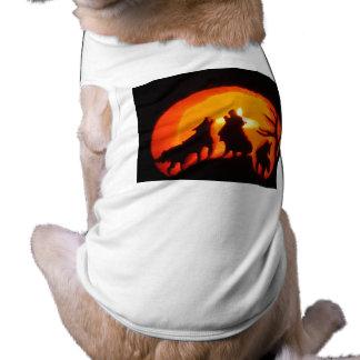 A Glowing Pumpkin Wolf Doggie Shirt